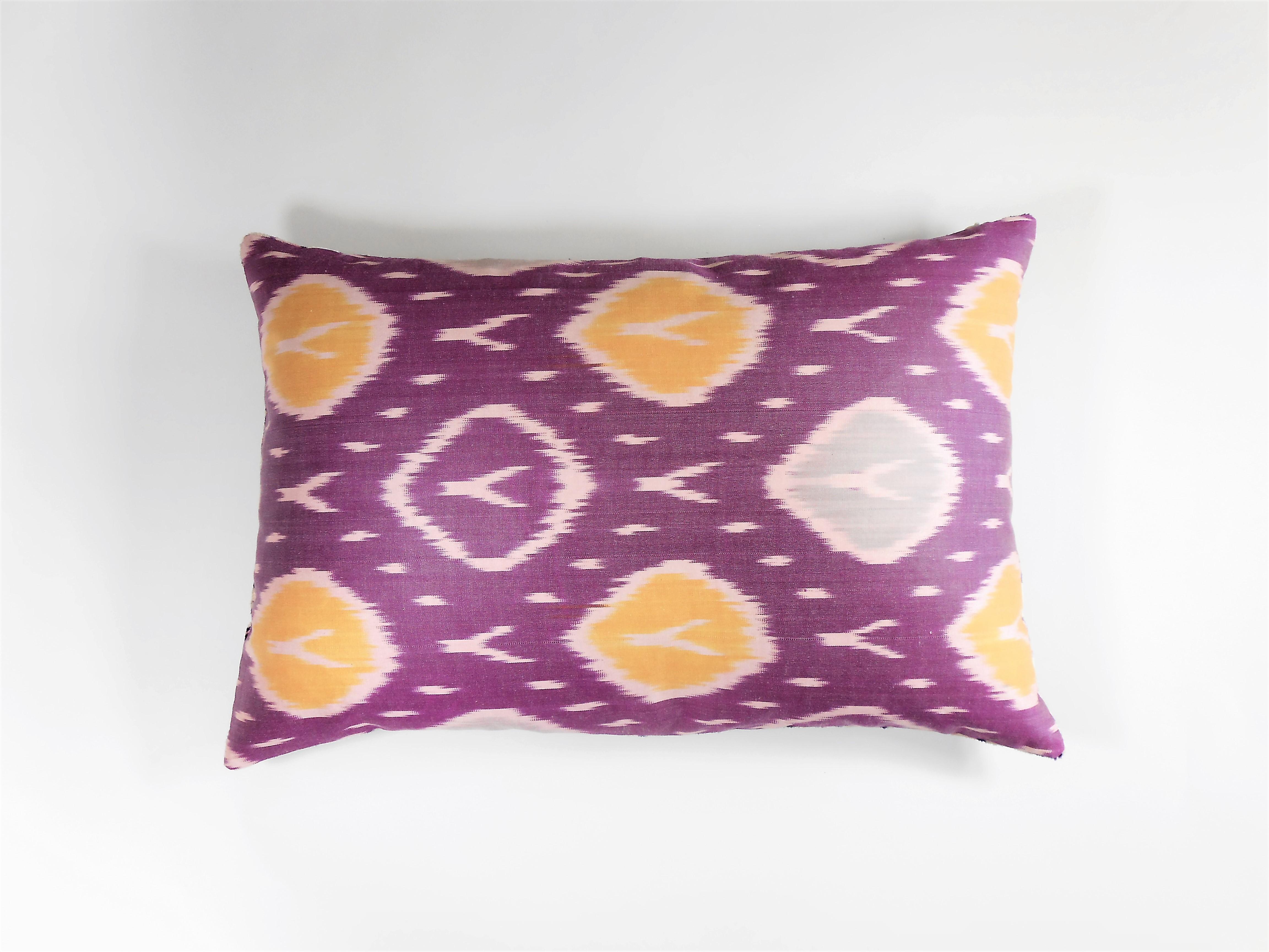 Pink Persuasion Ultra Violet Silk Velvet Ikat Pillow | Marea Qol